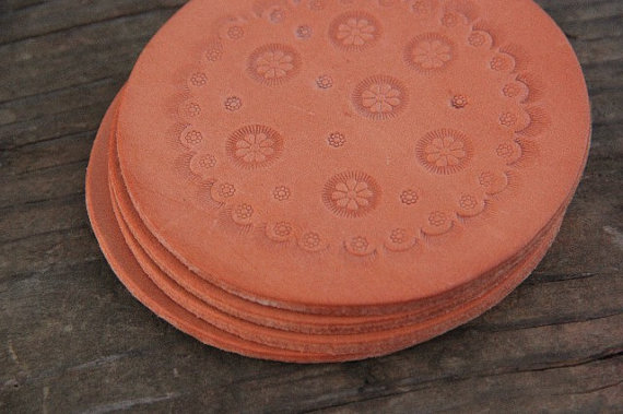 Coasters, leather, leather coasters, hand stamped, stamped leather, ike's outfitters, flower coasters, country coasters, leather accessories, home decor, leather home decor, country decor, country home decor, decorations, rustic, leather