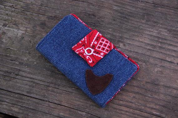 LadiesWallet, Ladies Handmade Wallet, Leather and Cloth Wallet, Bandana, Jean Wallet, Guitar Pick, Pick, Pick Pocket, Wallet